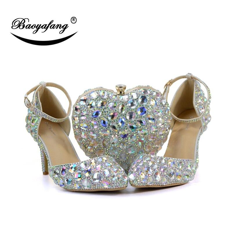 Cristal Cheville Sacs De Bride Bag Shoe Coeur Mariage Femme Ab Partie Et Dames With Main La 8cm Chaussures Strass À Femmes Baoyafang Luxe qn5FZA