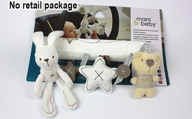 Brand baby Rattl Rabbit baby music hanging bed safety seat plush toy Hand Bell Multifunctional Plush Toy Stroller Mobile Gifts
