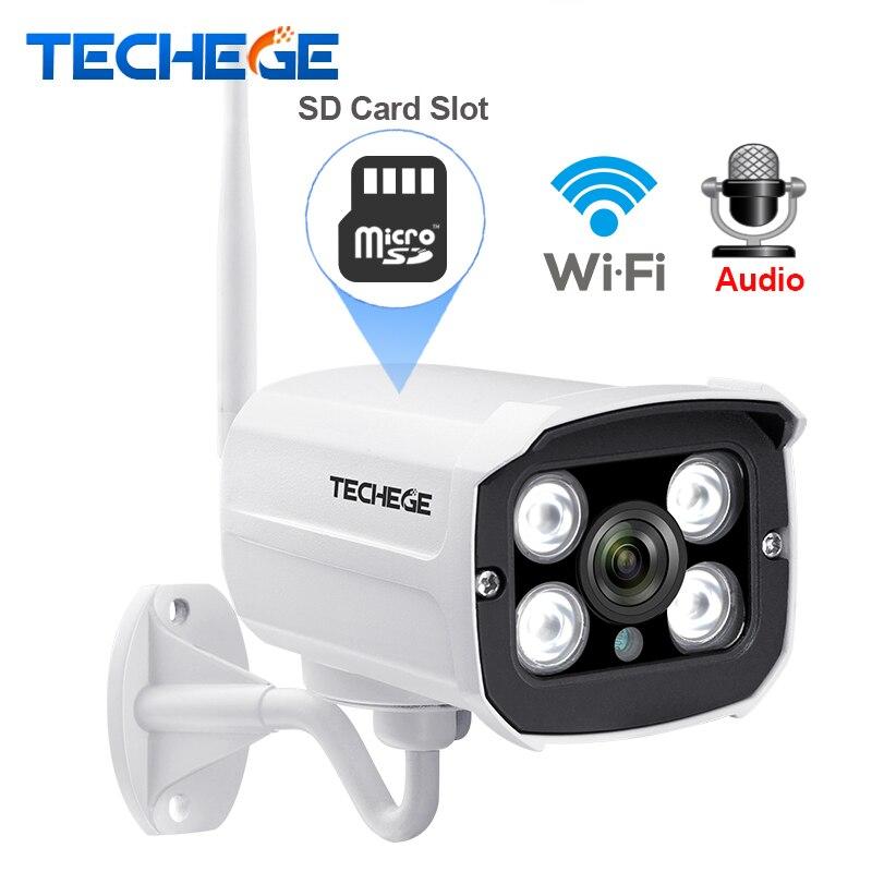 Techege 2.0MP Audio Record Verdrahtete Wifi Kamera Wasserdichte nachtsicht 960 p 720 p drahtlose kamera Motion Detection SD Karte slot