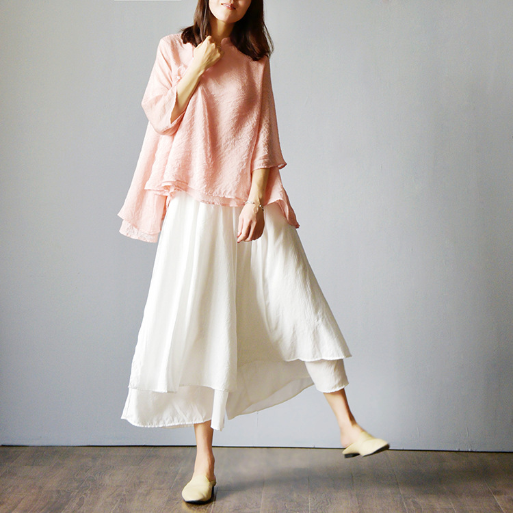 Autumn Spring Women Skirt   Pants   Fashion Casual Female   Wide     Leg     Pants   Ethnic Middle Waist Haram Trousers RE2148