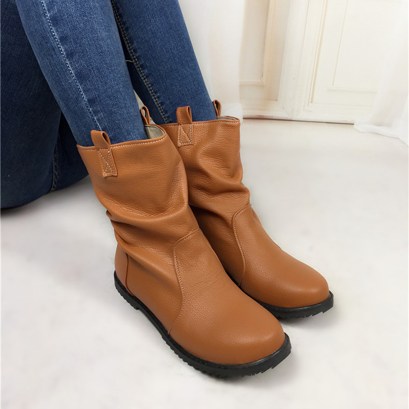 ФОТО plus size 34-52 arrive soft leather ankle boots Comfort Shoes women boots Casual flats winter shoes ladies female autumn boots