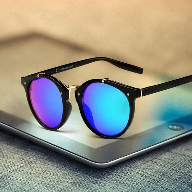 f7131a4d79 Moda vintage ronda Gafas de sol mujeres hombres marca diseñador espejo  retro Sol cristal señoras mujer