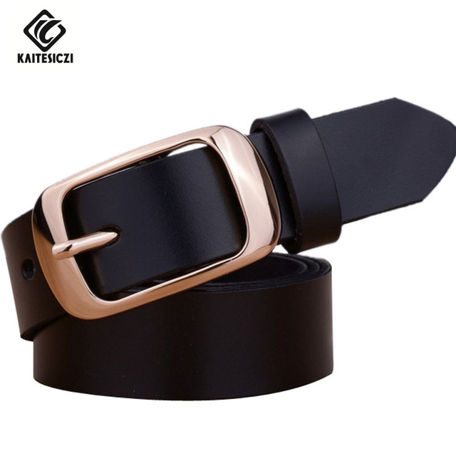 [KAITESICZI] 2017 новый пряжкой кожаный ремень 100% кожа женщин пояс кожаный ремень высокое качество бренда джинсы пояс