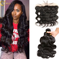 Peruvian Virgin Hair Body Wave 4 Bundles With Frontal Closure Peruvian Body Wave Hair Accessories Lace Frontal Human Hair Style