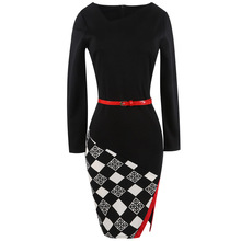 Women's 2018 Elegant Long Sleeve Black Plaid Tartan Patchwork Winter High Quality Belt Fashion Knitted Work Office Dress 350168