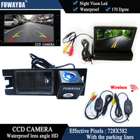 FUWAYDA Wireless Color CCD Chip Car Rear View Camera for HYUNDAI IX35 / I35 / Tucson + 4.3 Inch foldable LCD TFT Monitor