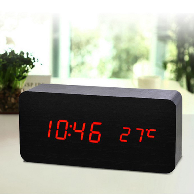 Digital LED Wooden Desk Clock Wood Alarm Clock Snooze Voice Control Timer Thermometer