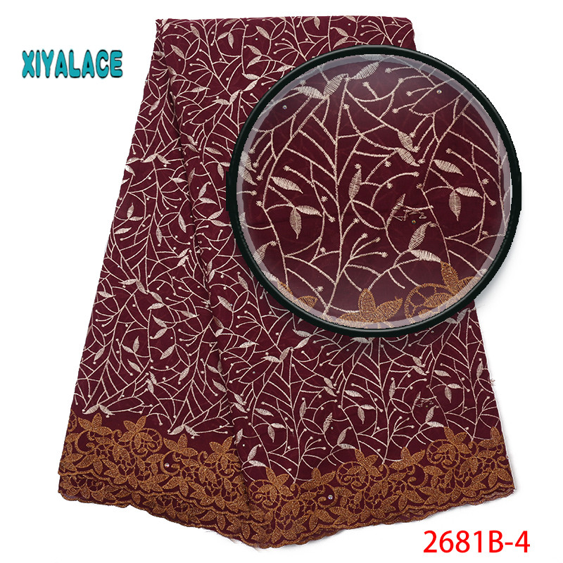 Hot Selling 2019 High Quality Lace Swiss Voile Lace Fabric African Dresses For Wedding Lace Cotton Lace Party Dress YA2681B-4