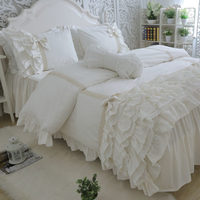 Amazing luxury bedding set cake layers embroidery ruffle lace duvet cover bed sheet bedspread princess bed linen bow pillowcase