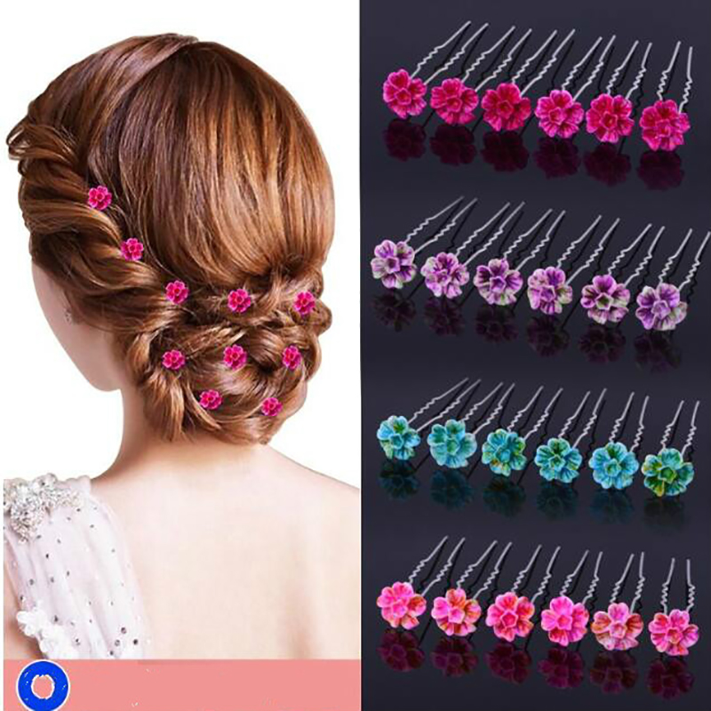 6pcs  Wedding Bridal Hair Pins Flower Crystal Hair Clips Bridesmaid Jewelry Accessories hairpin Wholesale Free Shipping