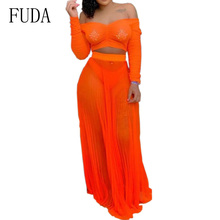 FUDA Women Summer Bandage Dress Sexy See Through Two Pieces Sets Orange Strapless Long Sleeve Loose Beach Party Dresses Vestidos