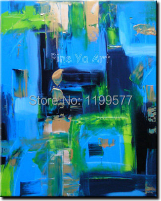 Modern Wall picture oil blue large canvas wall art hand painted font b Knife b font