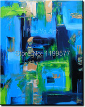 Modern Wall picture oil blue large canvas wall art hand painted Knife acrylic oil painting on canvas for living room decoration