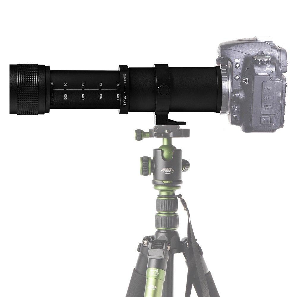 JINTU 420-800mm f/8.3-F16 Téléobjectif Appareil Photo pour Canon Rebel APS-C DSLR 60D 77D 70D, 80D 650D 750D 7D T7i T7s T7 T6s avec Sac