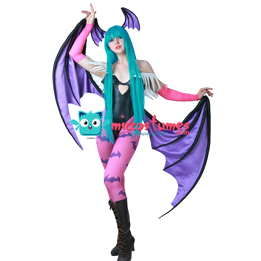 Morrigan Aensland Cosplay Costume with Wings Whole Set Outfit
