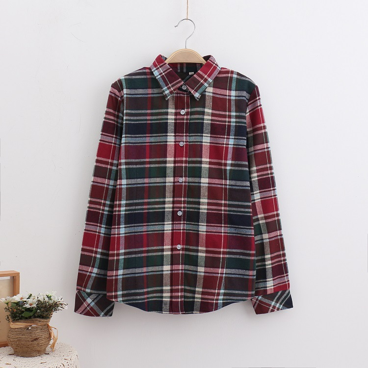 2018 Fashion Plaid Shirt Female College Style Women's Blouses Long Sleeve Flannel Shirt Plus Size Casual Blouses Shirts M-5XL 17