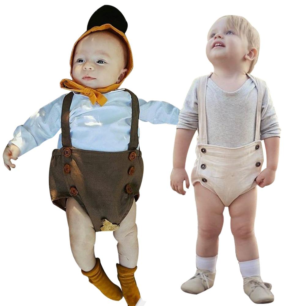 2017 Newborn Lovely Sleeveless Straped Brown Beige Baby Bodysuit Bib Short Baby Toddler Clothing Stuff Kids Bodysuits
