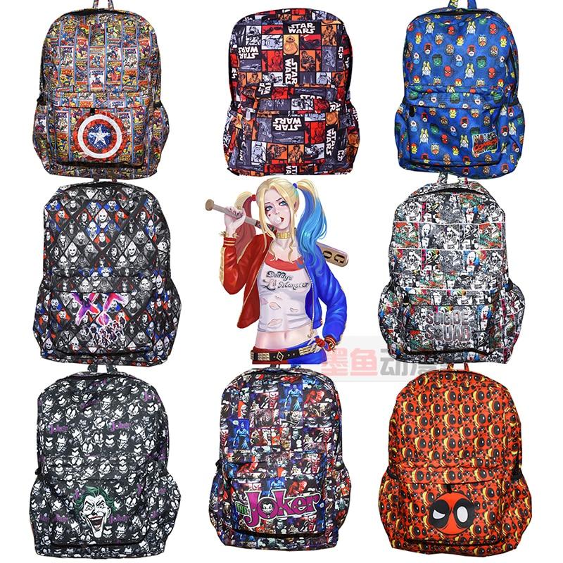 DC Marvel Comics Captain America  Deadpool Star Wars Backpack Red X-men Backpack Teenagers Casual Shoulder School Bag 22 style