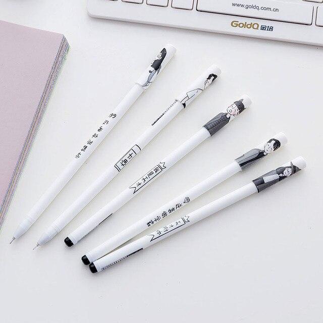 2 pièces/lot nouveau créatif mignon étudiant maître génie mince jeune 0.5mm stylo Gel stylo bureau école cadeau papeterie stylo E0485
