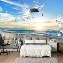 3D Seagull Blue Sky White Clouds Sea Landscape Wall Mural