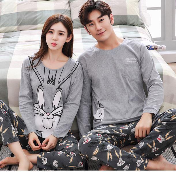Autumn Winter Striped Pyjamas Cotton Pj Pajamas Set Women Cartoon Sleepwear Men's Pajama Sets Pijamas Girl Pyjamas Home Clothes