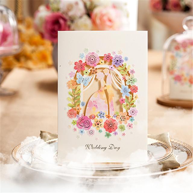 10pcs Laser Cut Flower Groom And Bride Wedding Invitation Card Paper Invitation Wedding Decoration Mariage Favors(with envelope)