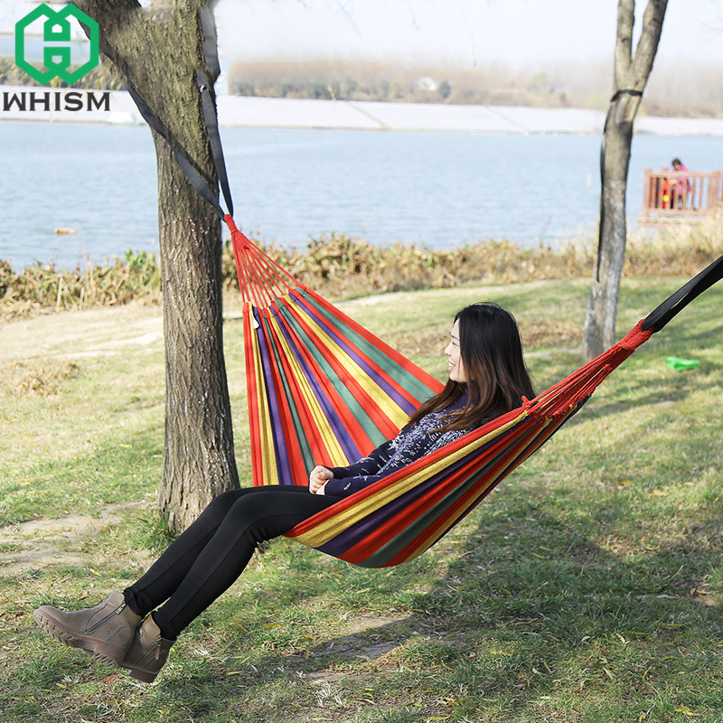 WHISM Outdoor Canvas Hammock Double/Single Garden Swing Hammock Colorful Camping Sleeping Bed Portable Leisure Hanging Chairs indoor hammock chairs hammock large garden swing hammock