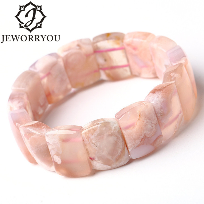 12*18mm Cherry Blossoms Bracelet Agate Bracelet Femme Ladies Gift Romantic Natural Stone Bracelets For Women Bangles Jewelry