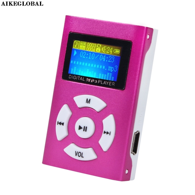 AIKEGLOBAL Hifi USB Mini MP3 Music Player LCD Screen Support 32GB Micro SD TF Card Sport Fashion 2017 Brand New Style Rechargeab 1
