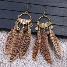 Handmade Vintage Feather Earring Leopard Print Tassel Earrings for Women Ethnic Indian Earings Fashion Jewelry