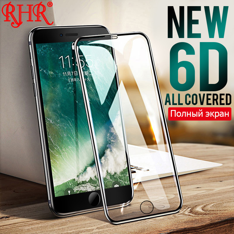 RHR 6D Aluminum Alloy Tempered Glass For iPhone 6 6S 7 8 Plus Full Screen Protector Protective Film For iPhone X 8 5 SE 5s Glass