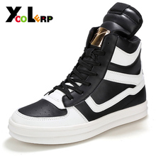 Big Size 39-45 2016 Brand Men's shoe High Flats Fashion Metal Male Head Quality PU and vice versa Leisure men's Shoes Wholesale