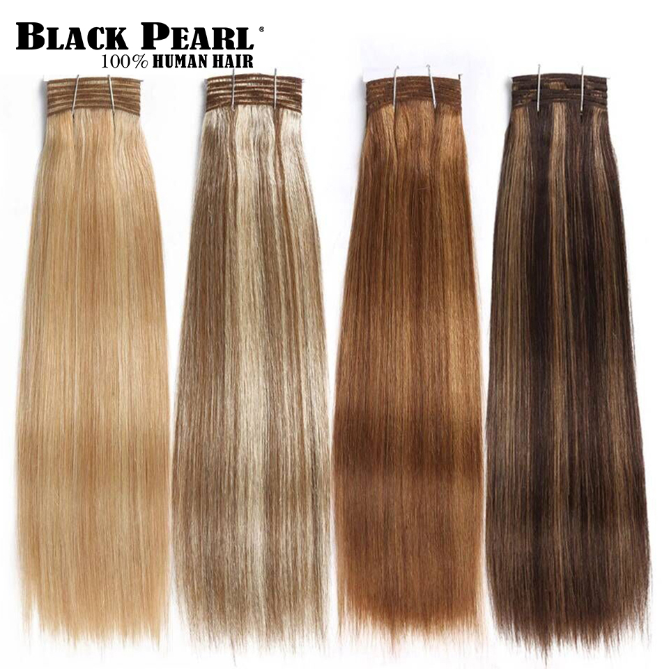 Black Pearl Remy Hair Brazilian Yaki Straight Human Hair Bundles Piano P4/30# P1B/27# P6/27# Hair Weave Bundles Extensions 113g