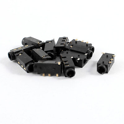 10 Pcs 4 Terminals PCB Mounting 3.5mm Jacks Connectors Socket Gold Tone Plated nobrand scropion pcb 4 2pc рп