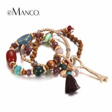 eManco Bohemia Charms Multi Layers Bracelets for Women Vintage Ethnic Style Wood Beads Crystal Stone & Tassel Bracelet Jewelry(China)