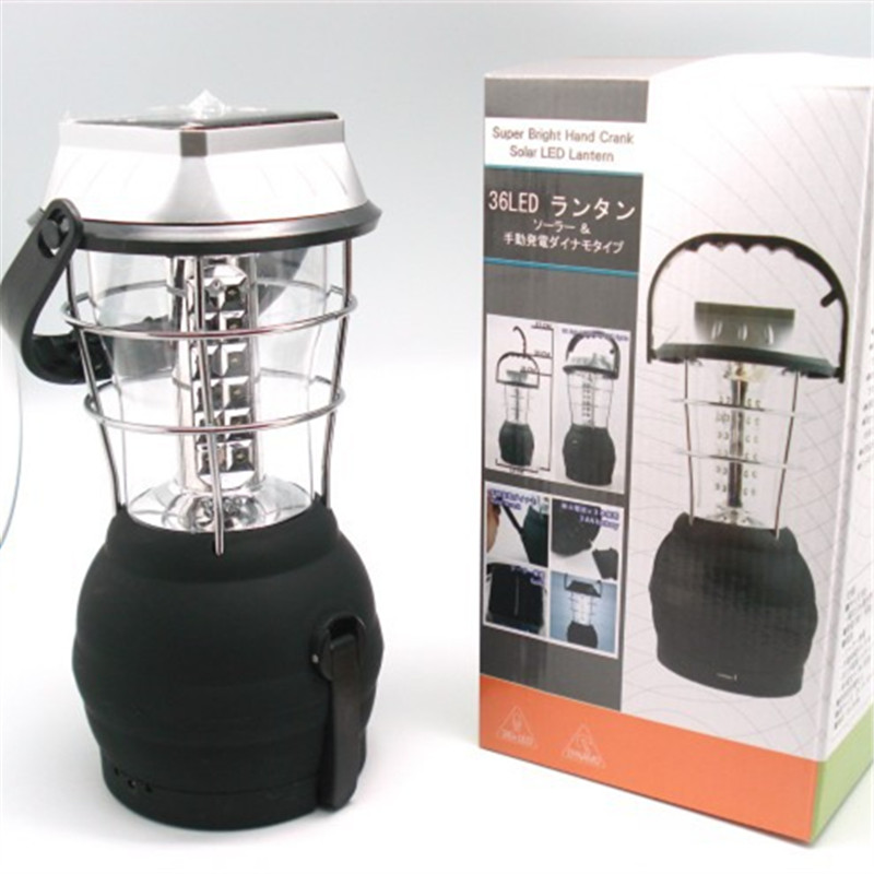 Super Bright Security 36LED Solar Panel Hand Cranked Charging Lantern Lamp Outdoor Tent Camp Garland Emergency Lighting Decor