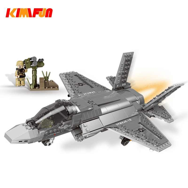 600pcs+ F35 Fighter Assemble Airplane Model Bricks Toys Building block Tool Sets Combat Aircraft Compatible