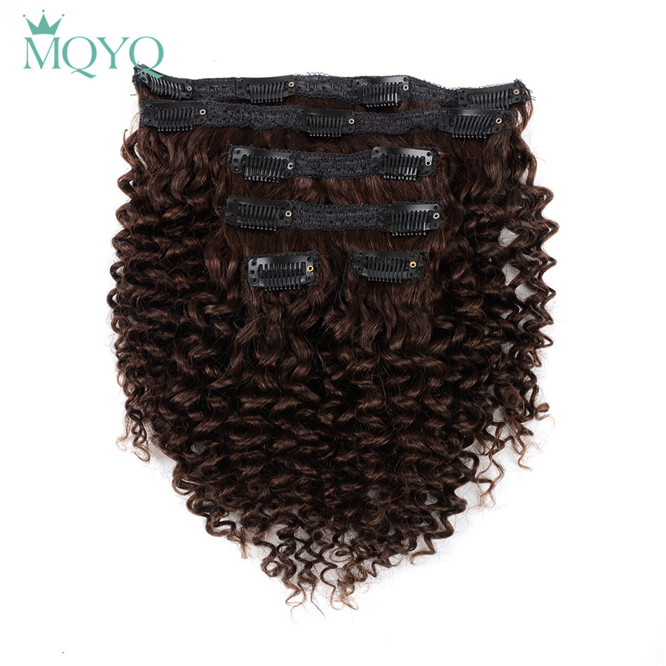 Hot Sale Mqyq Hair Kinky Curly Clip In Hair Extensions 2 Dark Brown