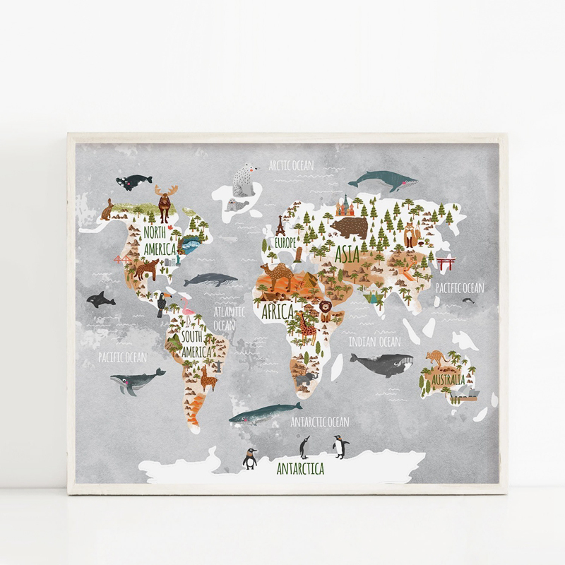 Woodland Animal World Map Poster Art Prints Nursery Decor , Watercolor Map With Animals Canvas Painting For Kids Room Wall Art