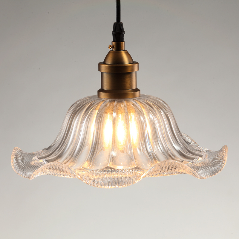 Loft Industrial Antique Sunflower Clear Glass Pendant Lights Cafe Bar Shop Dining Room Restaurant Aisle Corridor Pendant Lamp loft crystal clear dysmorphism glass iron light ceiling lamp cafe dining bar aisle dining room restaurant coffee shop