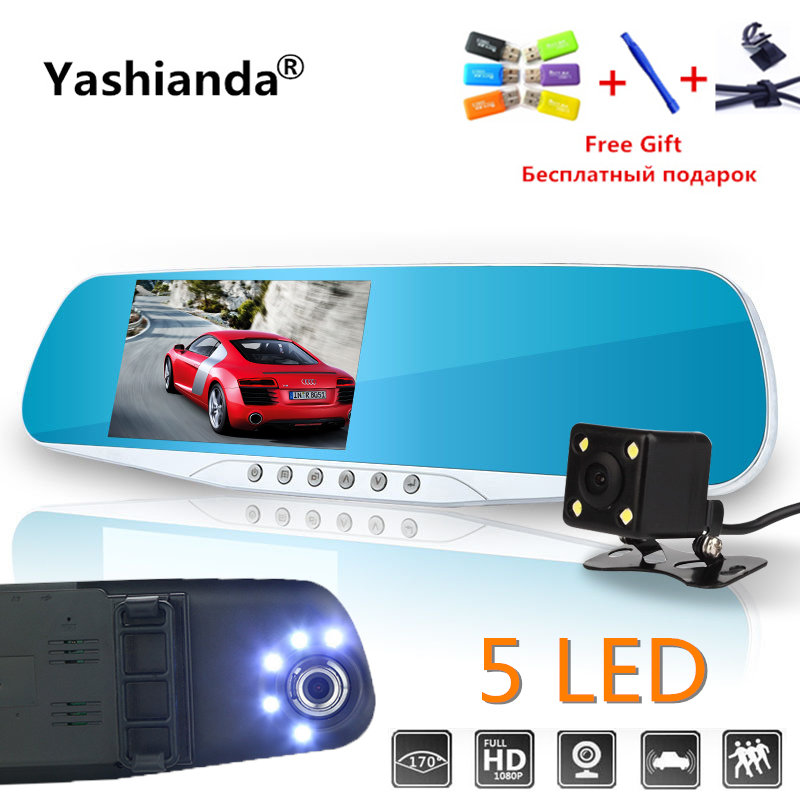 Yashianda Vehicle Car Dvr Dual Len Rear View Mirror 4.3 Inch Auto Dashcam Recorder Car Video Full HD Dash Cam Car Dual Camera