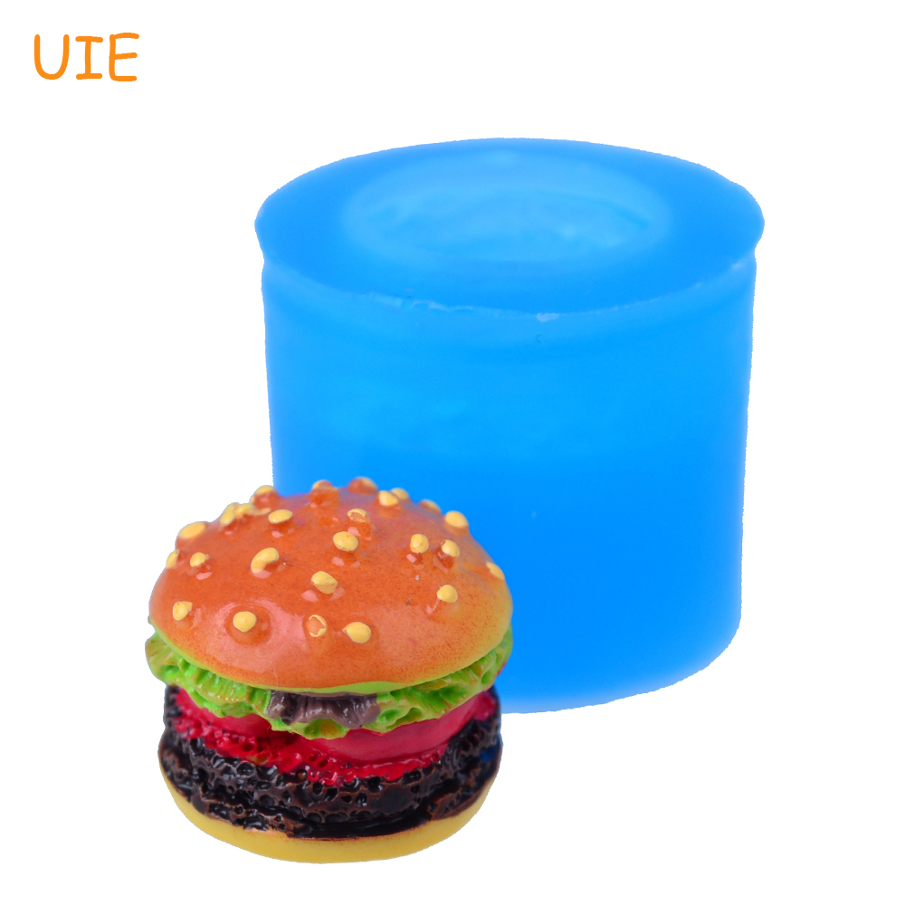 Adaptable Gyl501u 19.5mm 3d Hamburger Silicone Mold Cookie Biscuit For Dessert Miniature Food Fondant Baking Tools Resin Polymer Clay