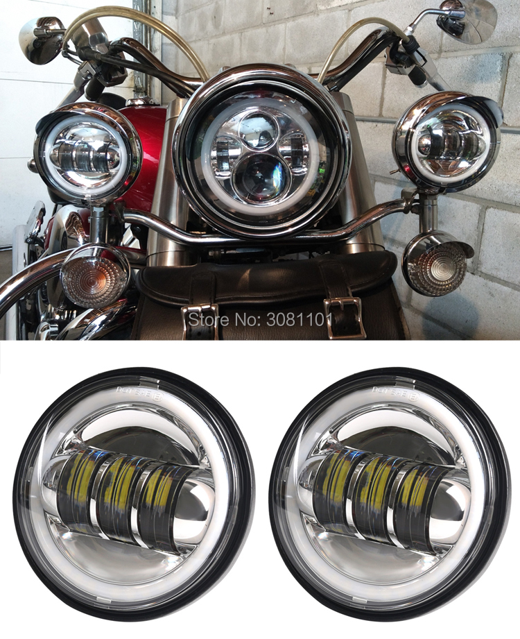 "Image 4 - 4.5"" 4 1/2"" 30W LED Projector Fog Passing Light for Harley Road King Street Glide Heritage Softail Electra Glide Touring-in Car Light Assembly from Automobiles & Motorcycles"
