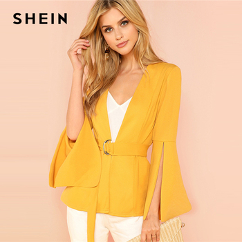 SHEIN Yellow Split Sleeve Belted Outerwear Office Ladies Long Sleeve Plain Wrap Workwear Blazer Women Autumn Elegant Coat