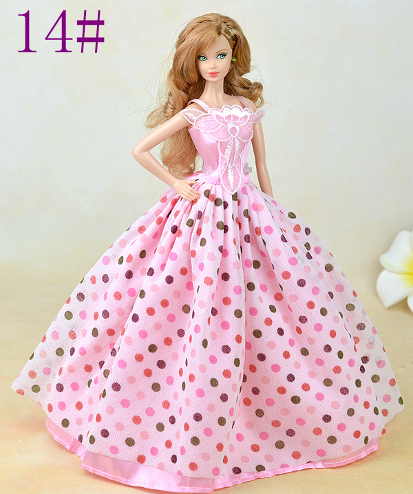 Pink Gown Level Print Lace Social gathering Princess Robe Vogue Outfit Garments For 1/6 Toy Barbie Doll Child Toy Present