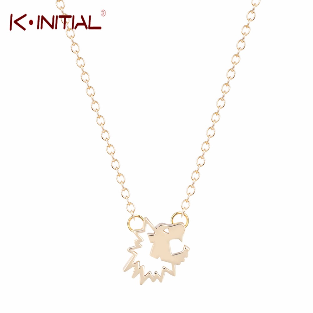 Kinitial 10Pcs Gold Silver Lion Head Necklace Tiny Lion Necklaces Cute Lion Face Pendant Necklace for Women Statement Jewelry