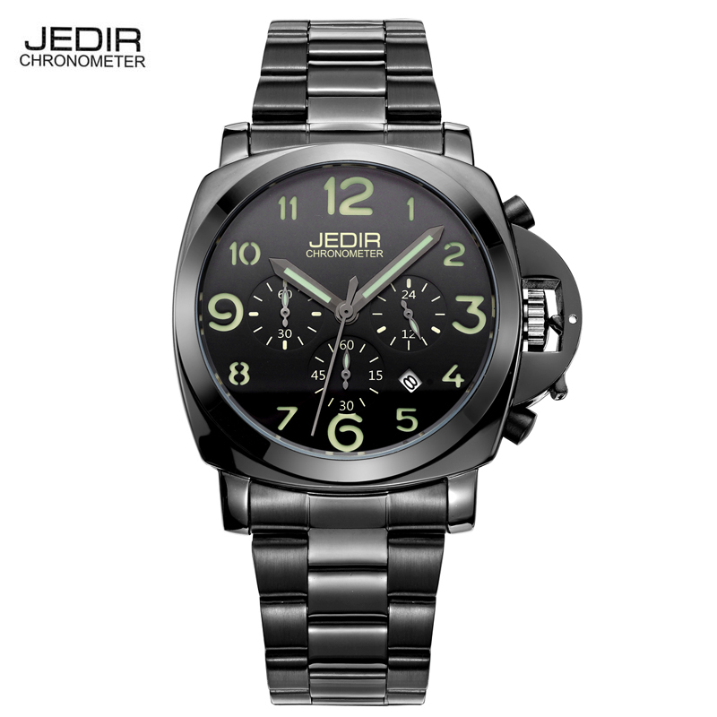 JEDIR Watches Men 2017 Sports Quartz Watch Chronograph Luminous Watch Leather Military Watches Luxury Brand Male Clock Koi Saat  jedir brand watches men luxury business stainless steel quartz watch chronograph luminous clock male sports waterproof watches