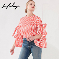 Korean Fashion Beautiful Clothing Top Sweet Red Checkered Lace Up Bow Tie Shirt Camisa Xadrez Camisas