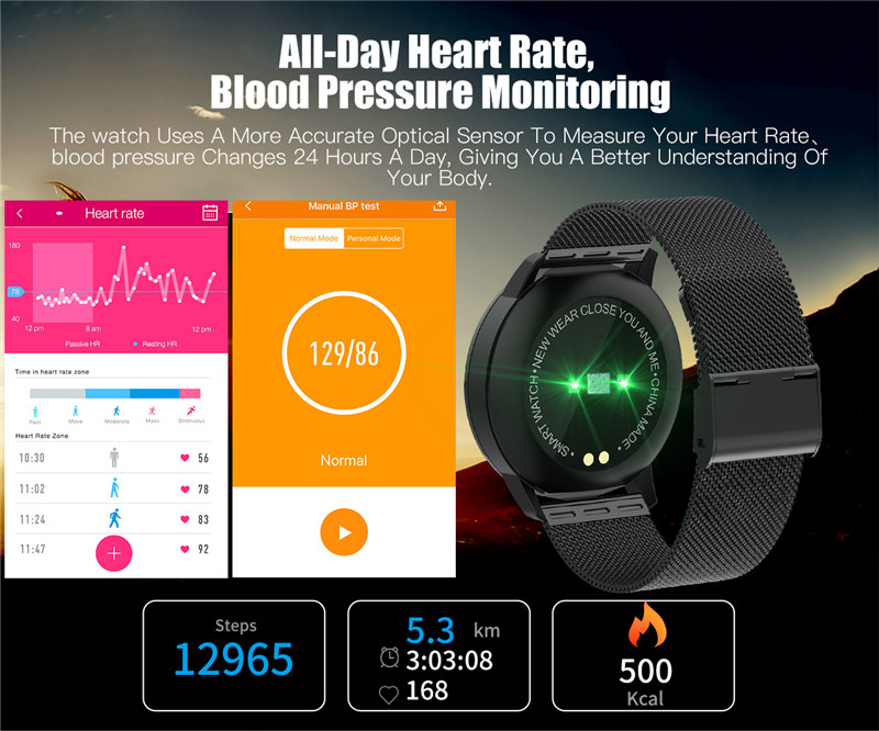MAFAM Q8 Smart Watch OLED Color Screen Smartwatch Men Women Fashion Fitness Tracker Heart Rate Monitor For IOS Android Watch (16)