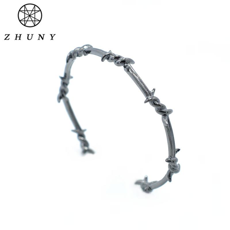 ZHUNY Luxury Brand Barbed Wire Gold Color Cuff Open Bangle Copper Twist Thorns Bracelets for Men & Women Geometric Simple Jewelr simple geometric ripple hollow out pure color cuff bracelet for women